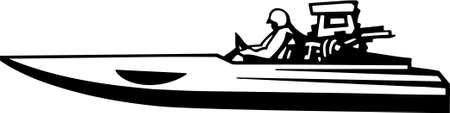 bateau de course: Illustration Vinyle Power Boat Ready