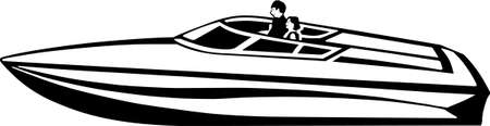 Power Boat Vinyl Ready Illustration Çizim