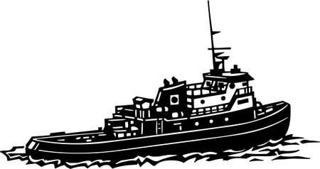 Tug Boat Vinyl Ready Illustration Vettoriali