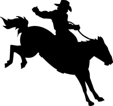 rodeo cowboy: Bronco and Rider Vinyl Ready Illustration