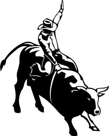 jinete: Bull Riding Listas para vinilo Ilustración Vectores