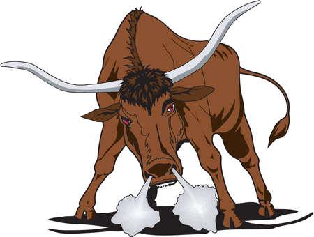 Angry Longhorn Bull Illustration Vettoriali