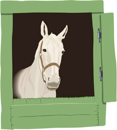 Horse in Stable Illustration