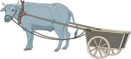 Ilustración del buey y del carro Ilustración de vector