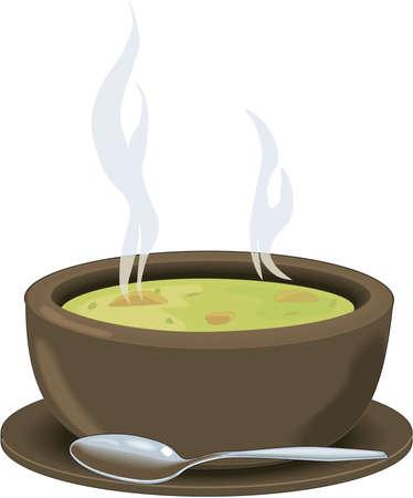 수프 그림의 그릇
