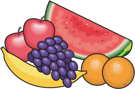 apples and oranges: Fruit food group illustration.