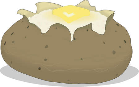 Baked Potato Illustration Çizim