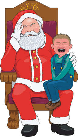 Santa with Crying Child Illustration