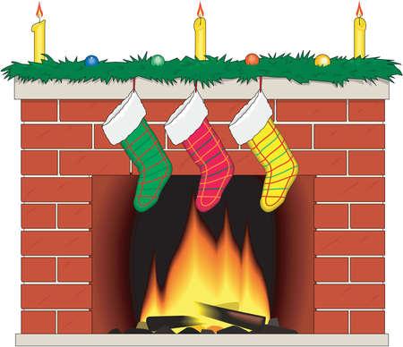 Christmas Eve Fireplace Illustration Imagens - 83994129