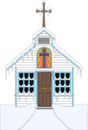 Church with Snow Illustration 向量圖像