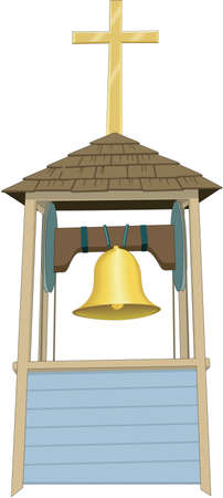 Church Bells in Steeple Illustration