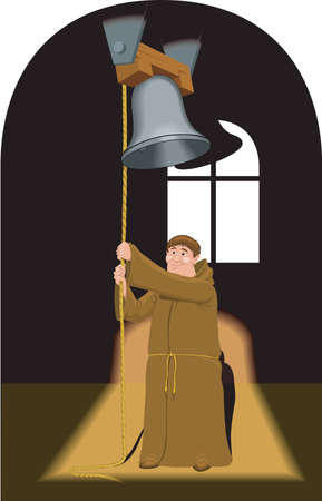 Monk Ringing Bells Illustration