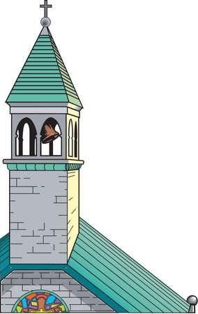 교회 종소리와 첨탑 일러스트