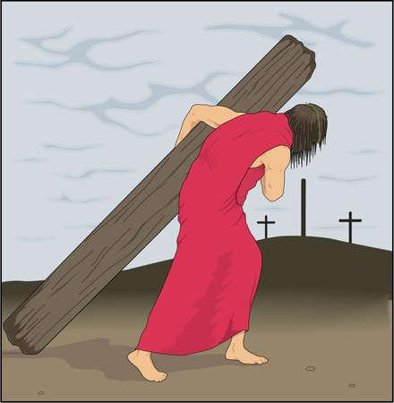 Jesus Carrying Cross Illustration 向量圖像