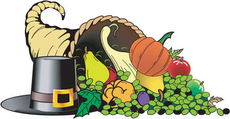Colorful cornucopia Illustration full of vegetables and fruits beside a top hat, a harvest thanksgiving day concept