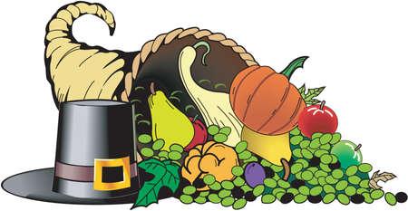 Kleurrijke hoorn des overvloeds Illustratie vol met groenten en fruit naast een hoge hoed, een oogst thanksgiving day concept Stock Illustratie