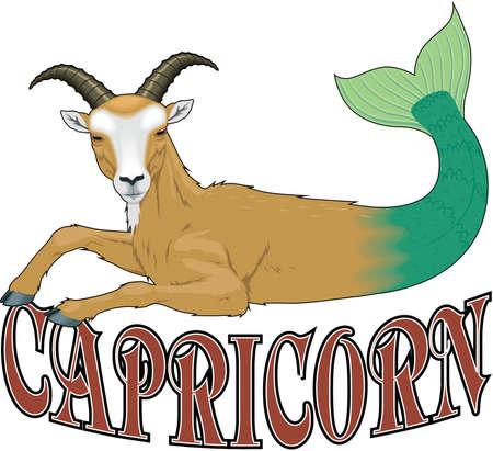 Capricorn sign illustration.