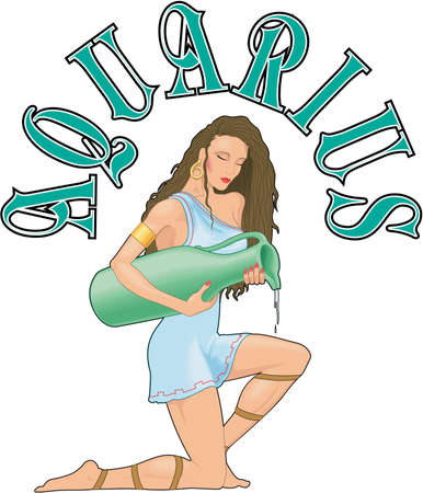 Aquarius sign illustration. Çizim