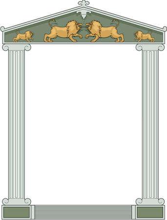 Greek columns border illustration.