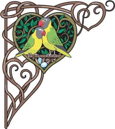Love birds border illustration.
