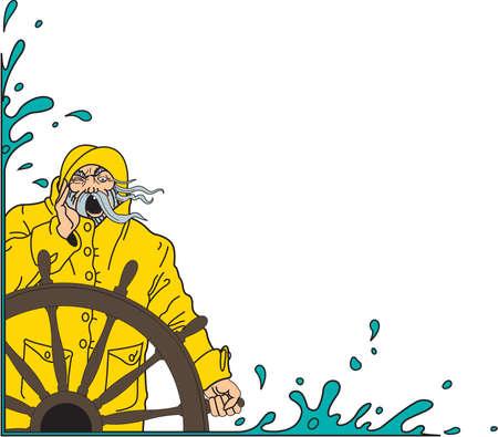 Mariner and ship's wheel border illustration. Zdjęcie Seryjne - 84042847