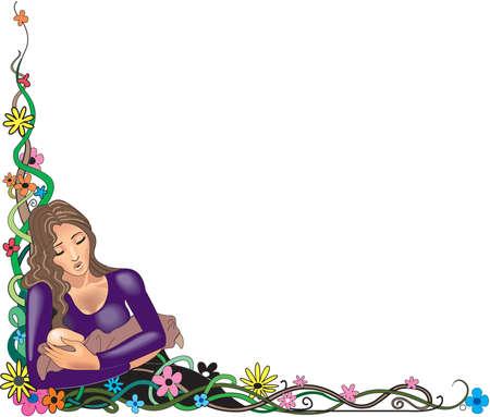 Mother and child border illustration.