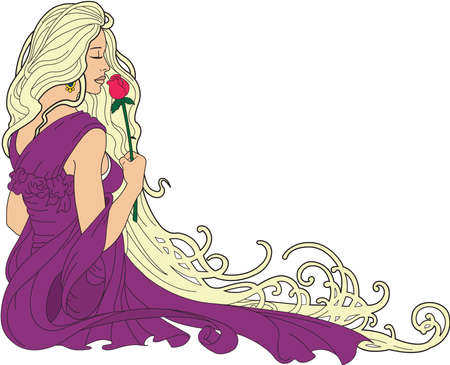 Woman Smelling Roses Border Illustration