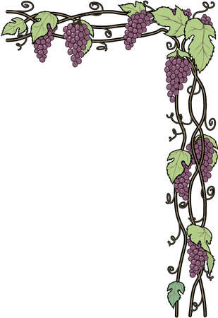 Ilustración de la frontera de las uvas de vid Foto de archivo - 84042868