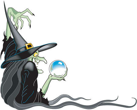 Bruja y Crystal Ball Border Cartoon Foto de archivo - 84042869