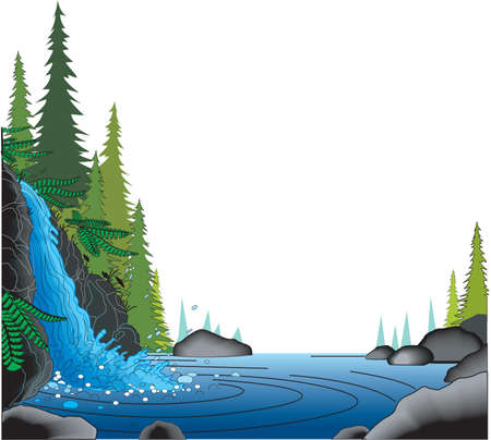 Waterfall border illustration.