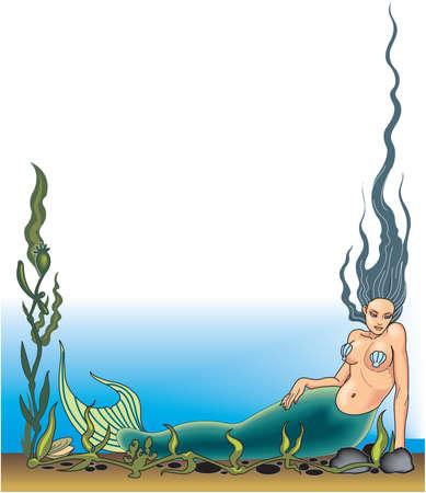 Mermaid Border Illustration Illusztráció