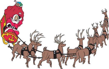 Santa's Sleigh Border Illustration Imagens - 84062813