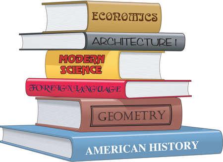 Stack of books illustration. Çizim