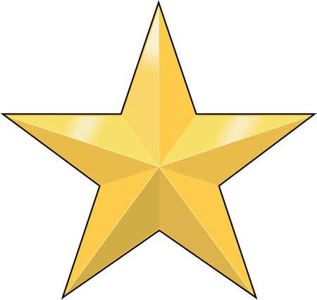 Gold star illustration. Çizim