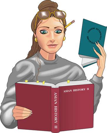 Student die Illustratie bestudeert