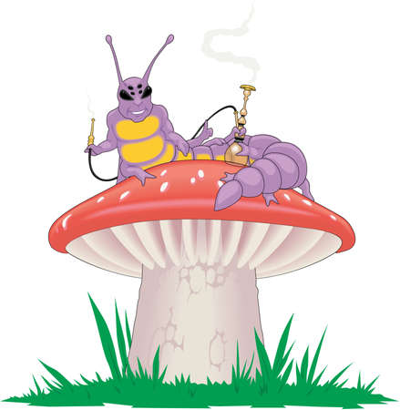 Mushroom and caterpillar illustration. Ilustrace