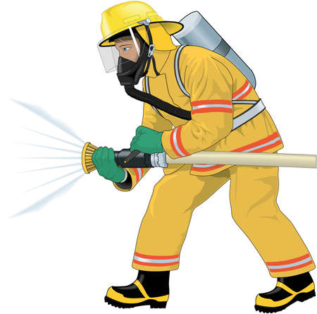 Firefighter Attacking Fire Illustration Illustration