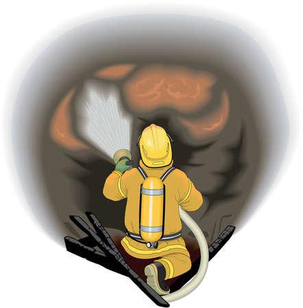 Firefighter Attacking Fire Illustration 向量圖像