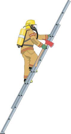 Firefighter Climbing Ladder Illustration