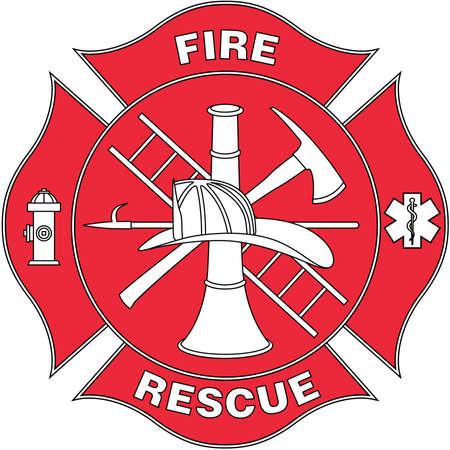 Fuego y rescate logotipo ilustración Foto de archivo - 84057869