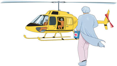 Helicopter Organ Transport Illustration Ilustrace
