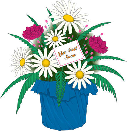 Get Well Card and Flowers Illustration Illustration