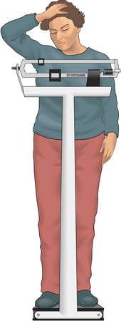 Woman on Scale Illustration Stock Illustratie