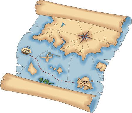 Ilustracja mapa skarbów piratów