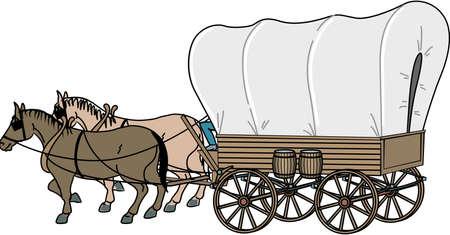 Covered Wagon Illustration 일러스트