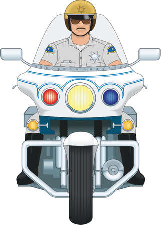 Motorcycle Cop Illustration