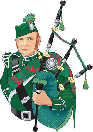 bagpipe: Bagpiper Illustration.