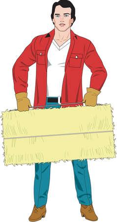 Baling Hay Illustration. 向量圖像