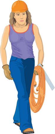 Female Construction Worker Illustration Illusztráció