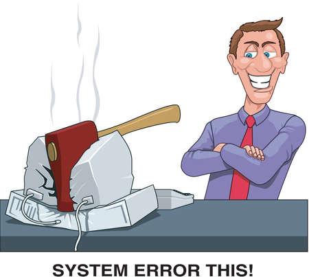 Systeemfout deze cartoonillustratie.